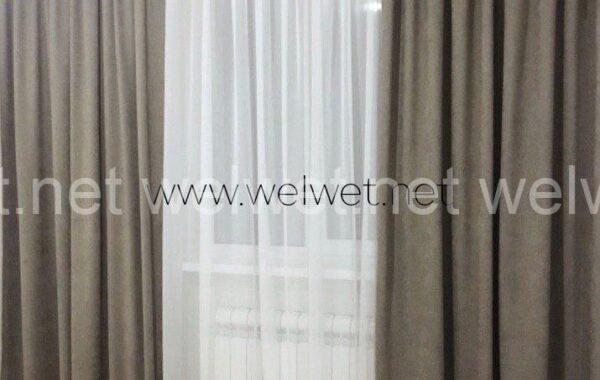 Однотонні штори сіро-коричневий тон