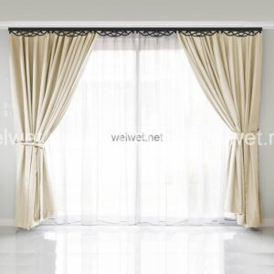 Curtain interior decoration in living room with sunlight